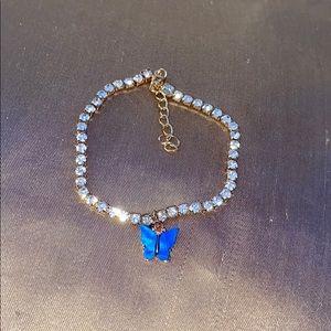 Blue butterfly rhinestone anklet